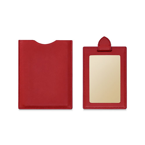 RED LEATHER TRAVEL MIRROR
