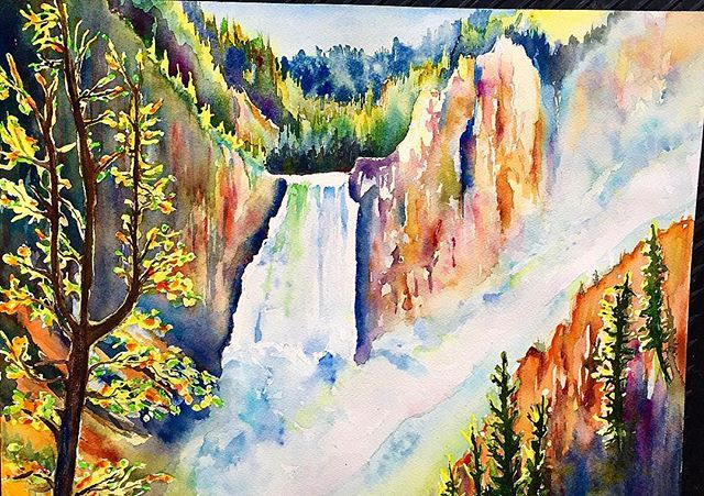 "Yellowstone Falls 16""x12"" watercolor on"