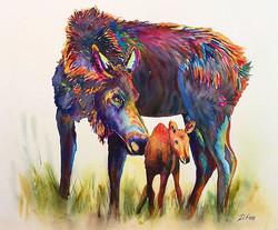 "Mum's Love 12""x16"" watercolor by Deborah"
