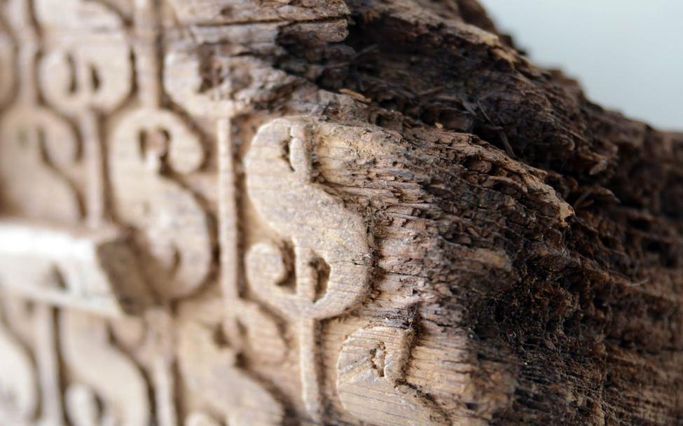 Wood briefcase, detail