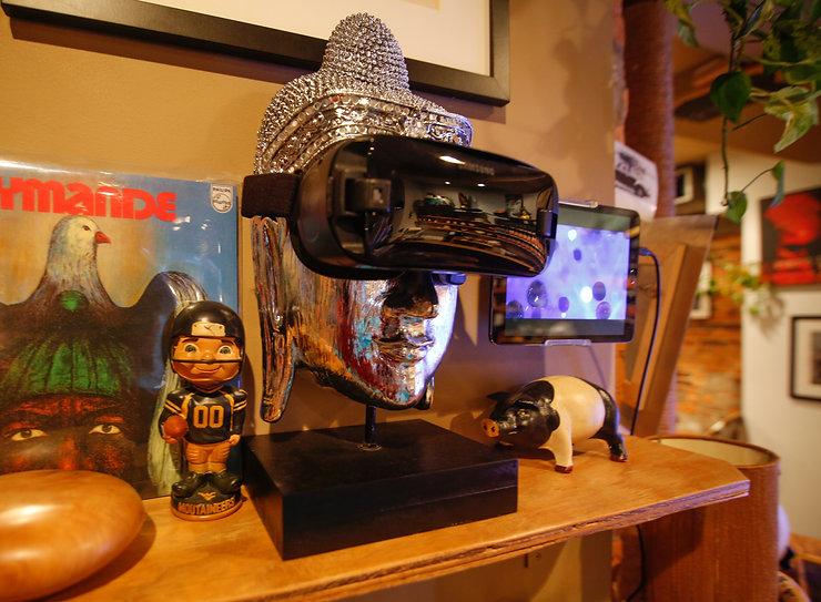 Silver Buddha third eye virtual reality tea