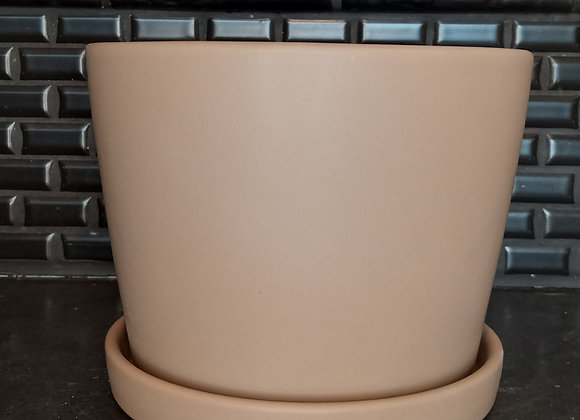 "7.75"" cylinder pot with attached saucer"