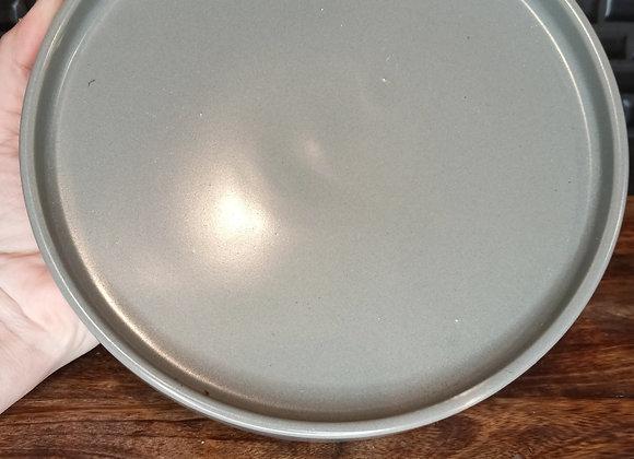 "6"" matte gray ceramic saucer"