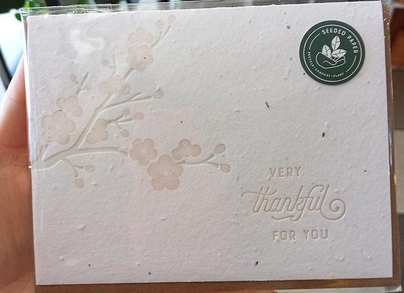 Seed Paper Greeting Card- Thankful for you