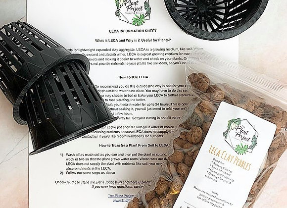 """Bag of LECA with four 3"""" net pots and detailed LECA guide"""