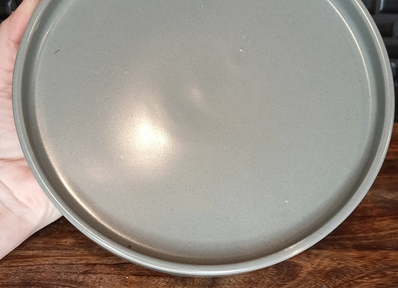 "7.25"" matte gray ceramic saucer"