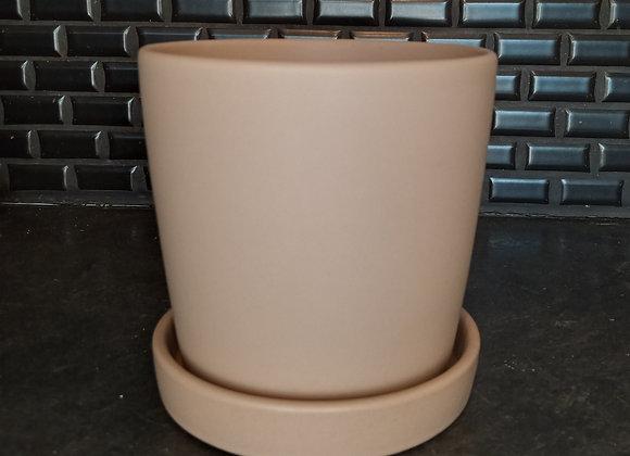 "5"" cylinder pot with attached saucer- matte mushroom"