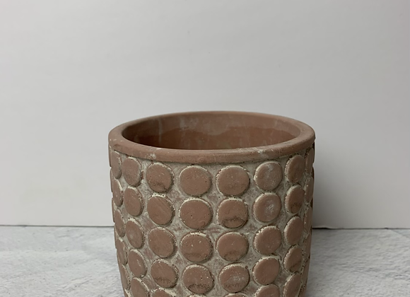 "4"" Maroon Cement Dot Planter"