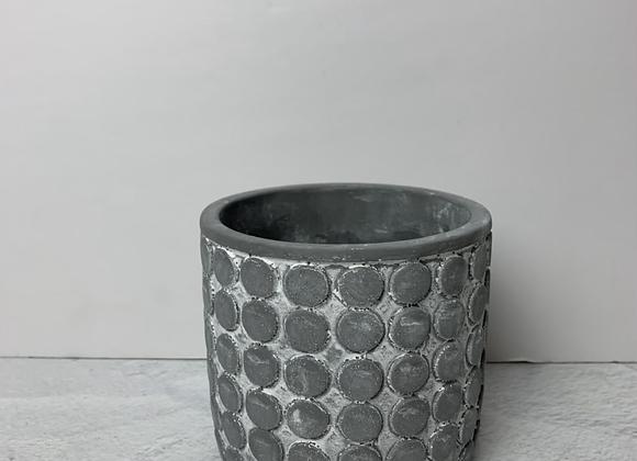 "4"" Dark Gray Cement Dot Planter"