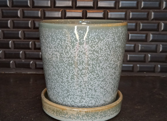 """5"""" cylinder pot with attached saucer- seafoam"""