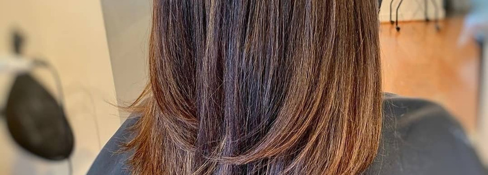 Brunette hair with keratin treatment