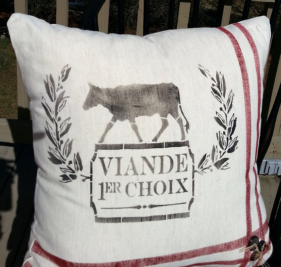 Farmhouse French Country Over Stuffed Pillows