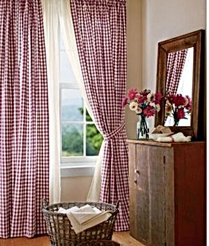 red check drapes