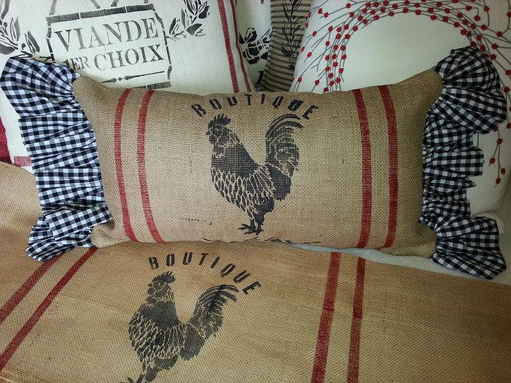 Rooster Ruffled Burlap Pillow