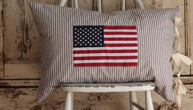 Cotton Ticking American Flag Pillow Covers