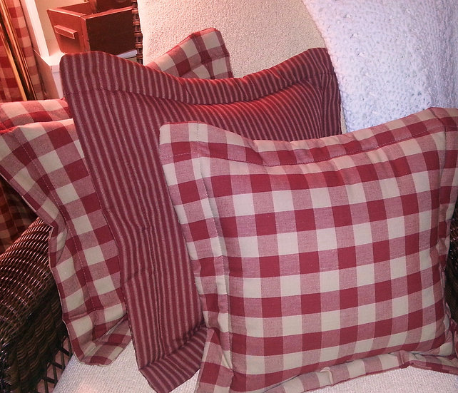 Homespun Quilted Pillow Covers 20 Inches Square