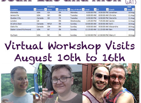 Virtual Workshop Visits August 10th to 16th