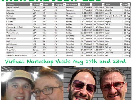 Virtual Workshop Visits August 17th to 23rd