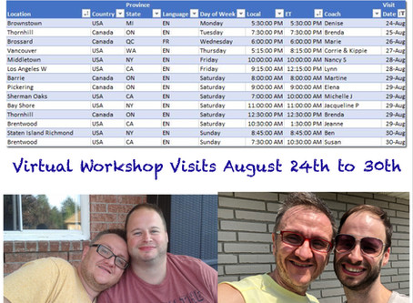 Virtual Workshop Visits August 24th to 30th