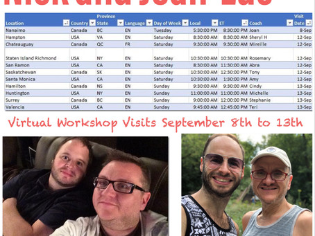 Virtual Workshop Visits September 8th to 13th