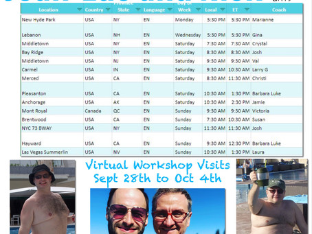 Virtual Workshop Visits October 1st to 4th