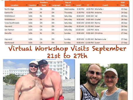 Virtual Workshop Visits September 21st to 27th