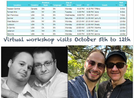 Virtual Workshop Visits October 5th to 12th