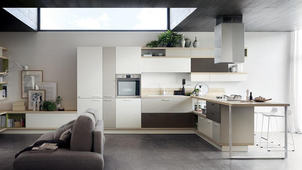 Дизайн, характеризующий Foodshelf, глубоко меняет взаимоотношение кухни и гостиной: на полках и панелях можно свободно размещ