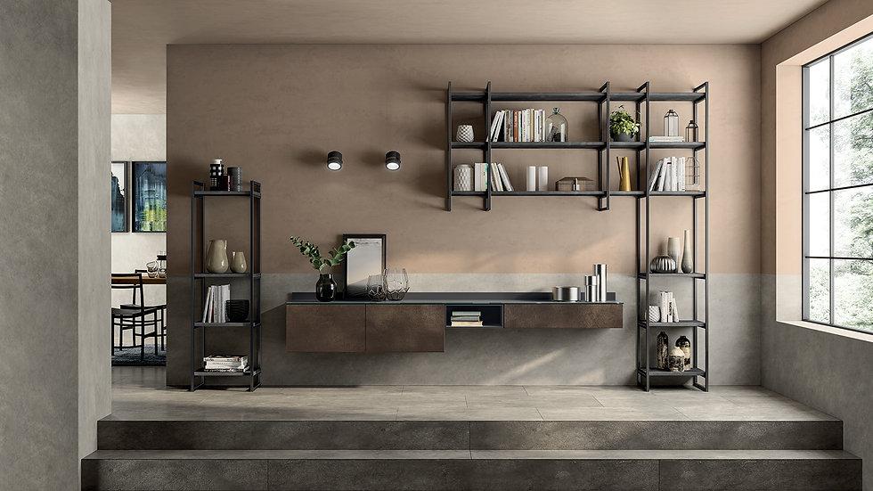 Конфигурация с индустриальным оттенком для динамичной гостиной: основы из декоративной оксидной бронзы SCAV403