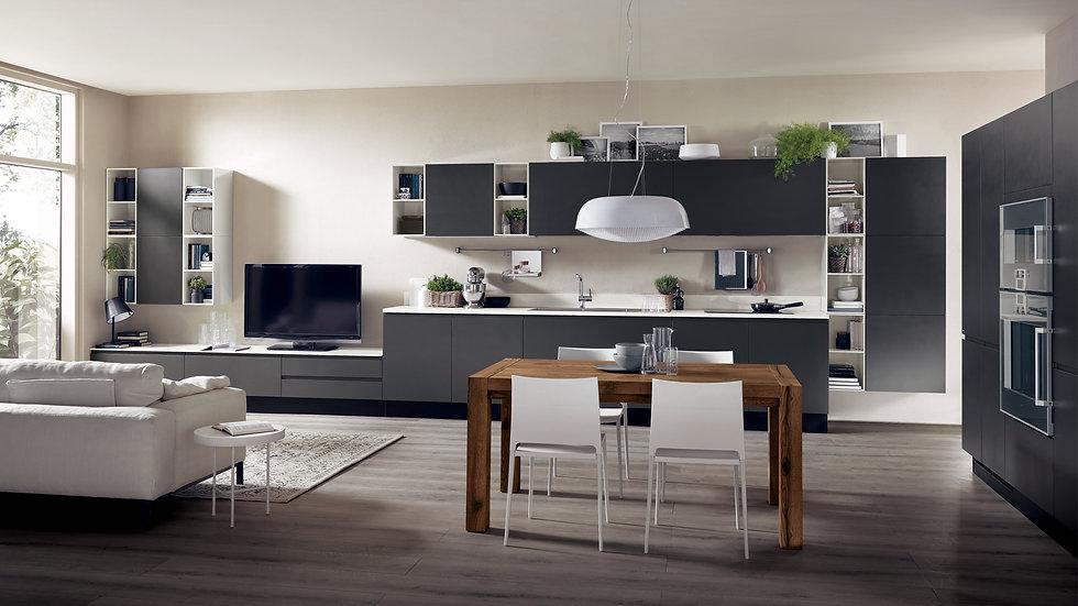 Кухня и гостиная в одной стенке для создания непринужденного и антиконформистского интерьера
