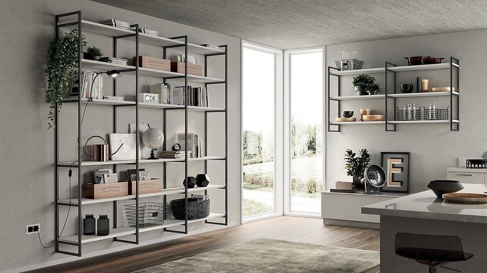 Прочная и функциональная стеновая система «Метро», интересная альтернатива традиционной модульности на кухне.