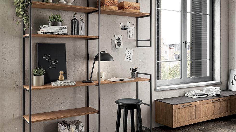 Гостиная, оформленная в виде открытых структур, в индустриальном стиле, придающем проекту приятную легкость: акцент делается