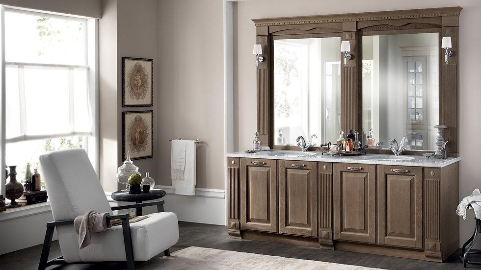 Эмблема элегантности и престижа, композиция из древесины дубовой палитры состоит из двух овальных раковин под столешницей.