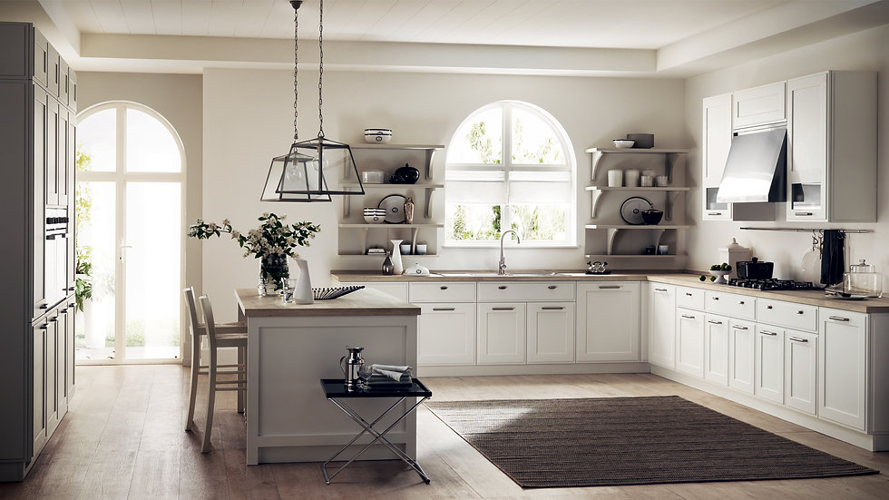 Вокруг острова выстраивается вся кухня, светлый проект с лак мат отделкой Белый Prestige для тумб и навесных шкафов и лак мат