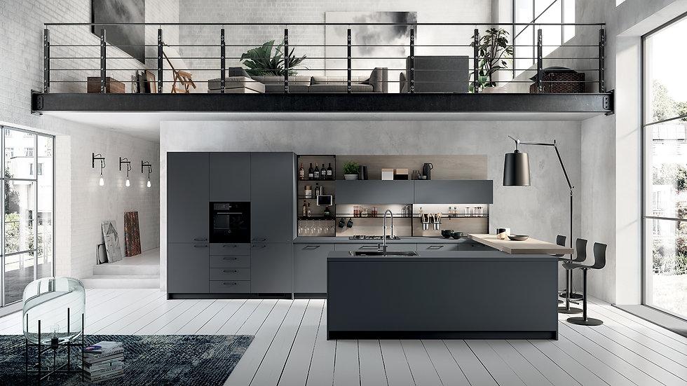 Столешница и створки великолепно сочетаются между собой: Fenix NTM® цвета Серый Бром подчеркивает метропольную душу кухни, об