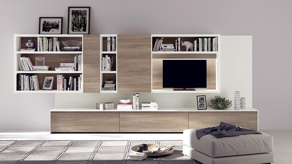 Книжные шкафы, открытые отсеки, боковые дверцы и место для телевизора в гостиной с основными элементами гостиной, характеризу