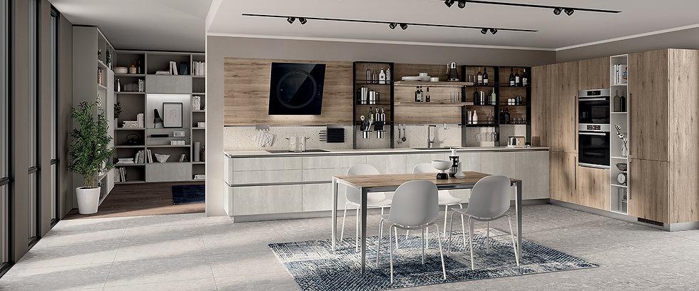 Два оттенка декоративной облицовки формируют уютное пространство кухни: декоративная облицовка цвета Concrete Jersey тумб и о