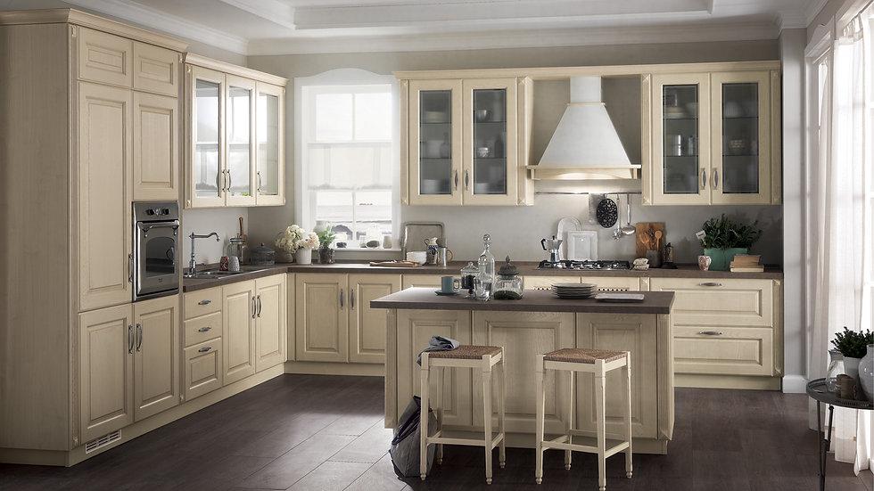 Дверь Line обеспечивает классическую кухню Madeleine с дверью в раме, предлагаемой здесь в Butter White Ash. Самый простой ди