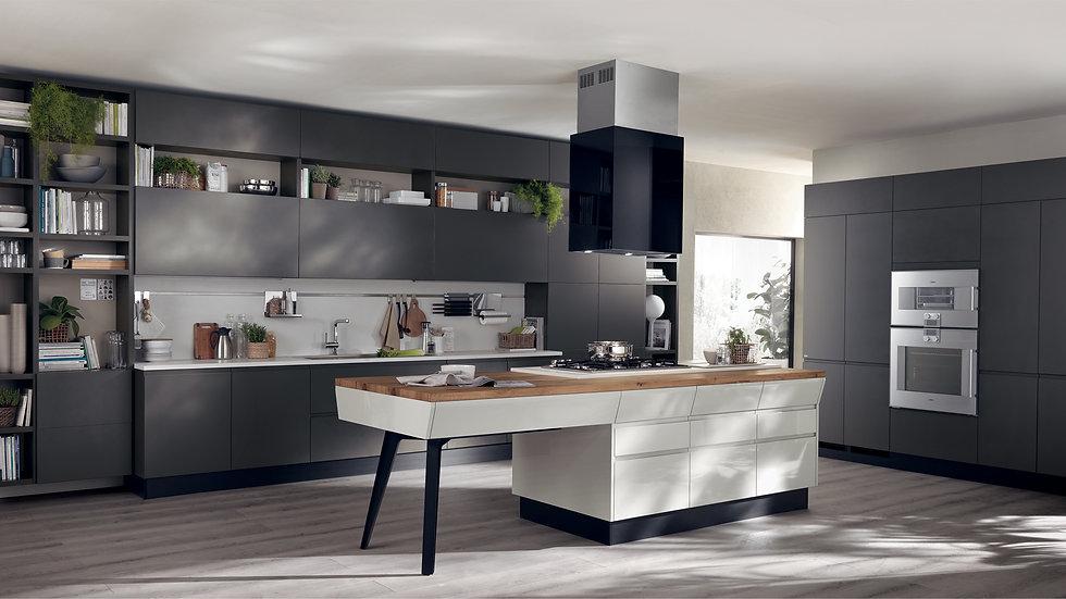 Проект Motus от Scavolini, разработанный Витторе Ниолу, сочетает в себе практичность и гостеприимство