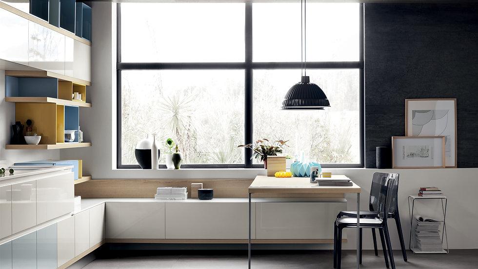 Решение для гостиной, интегрированное с кухонной средой