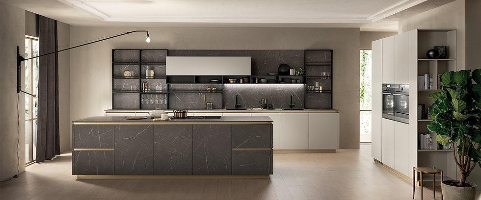 Изысканная кухня с современной душой. Цвет латуни профиль-ручек, вертикальных и го- ризонтальных пазов, а также цоколей, форм