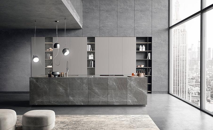 Кухня с фасадами из керамогранита Monolit в современном стиле