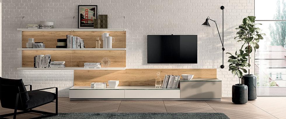 Предложение по динамичной меблировке гостиной: двери в матовом лаке Prestige White Scav028