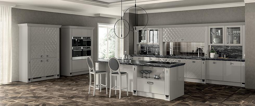 Створки Glamour, доступные для определенных элементов кухни Exclusiva, подчеркивают изысканность этой модели. Новые архитекту