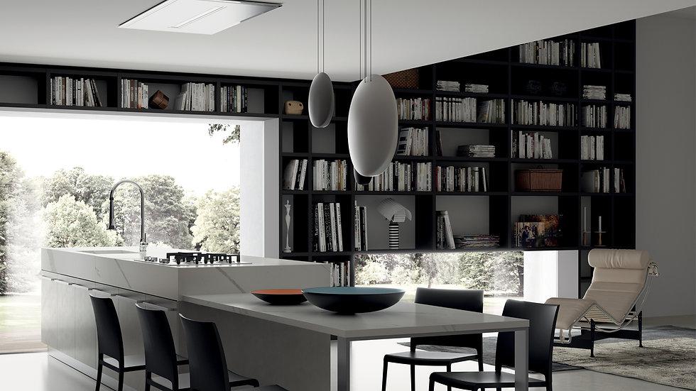 Стеновая система «Fluid» с отделкой «Серый железный» создает скульптурное оформление помещения.