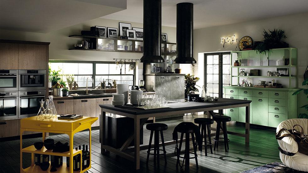 Функциональность и многое другое в моноблоках (кухонные шкафы для холодильников и духовок и зона мойки) и в мебели серии Misf