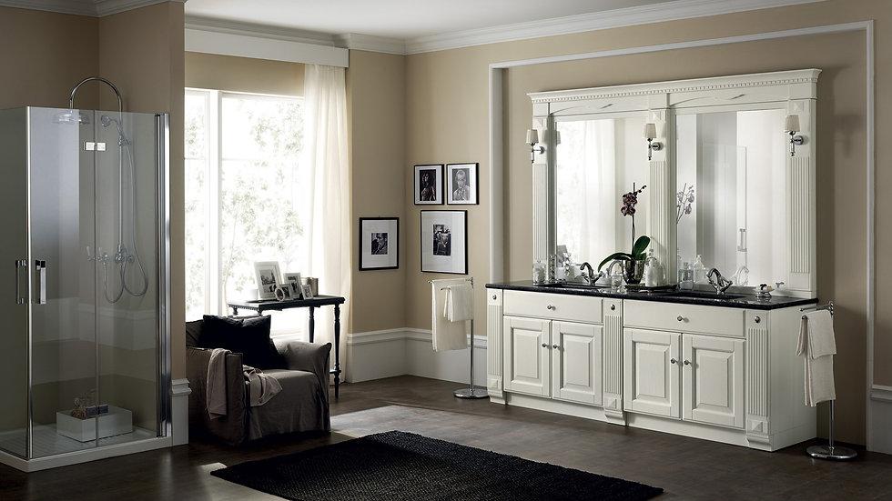 Absolute White Oak для композиции с двумя прямоугольными раковинами под столешницей и двумя зеркалами.