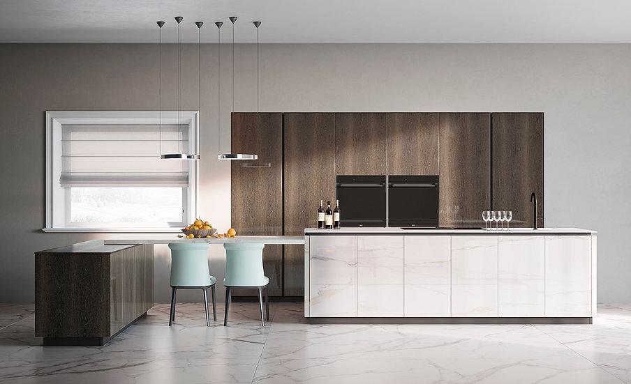 Современная кухня Prestige с фасадами из белого керамогранита от фабрики Berloni