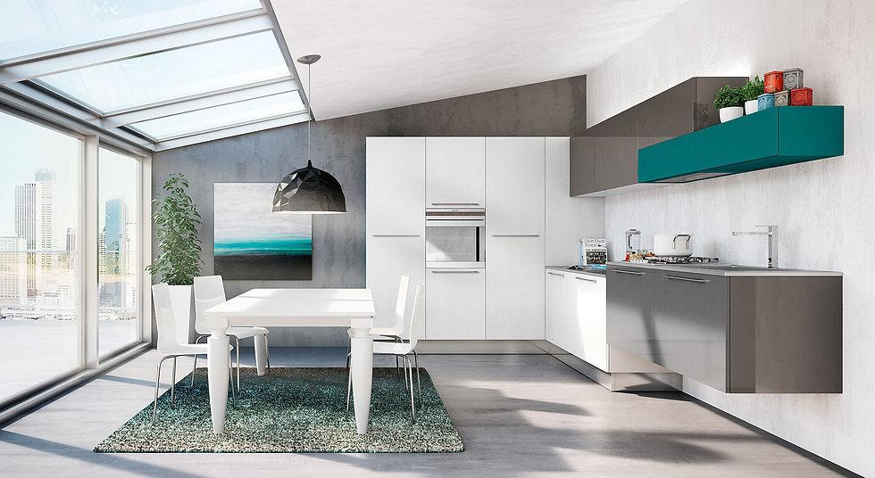 Итальянская кухня в современном стиле Plan Wide от фабрики Berloni