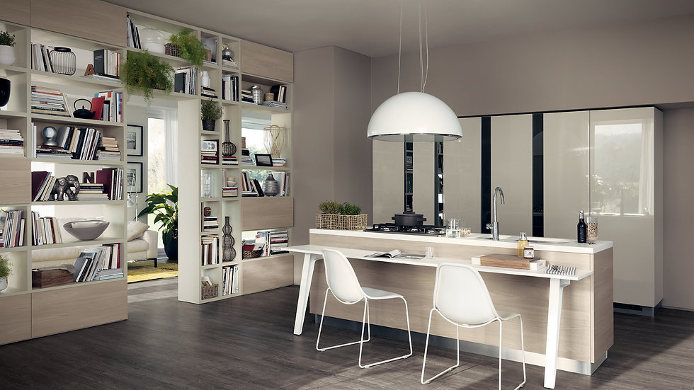 Столешницы выполнены из Corian® Glacier White, а каркас стола имеет меламиновую облицовку Вяз Jaipur.